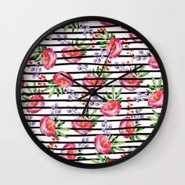 Modern black stripes pink lavender watercolor floral Wall Clock