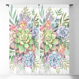 Watercolor Succulents #51 Blackout Curtain