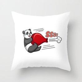 Funny Panda Bear Riding On A Balloon Throw Pillow