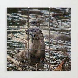 Otters Having Breakfast on the River Wood Wall Art