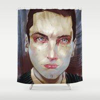 alex turner Shower Curtains featuring Alex by Marc Scheff