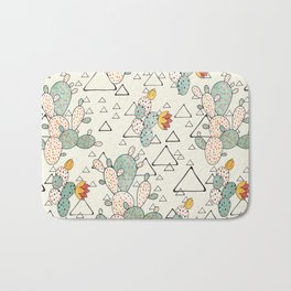 Prickly Pear Cacti and Triangles Bath Mat