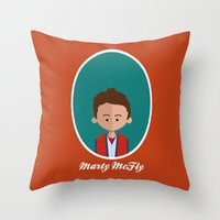mcfly Throw Pillows featuring Marty McFly by Juliana Motzko