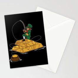 Leprechaun Fishing Gold Coins - Lucky Angler Stationery Cards