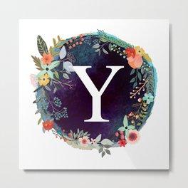 Personalized Monogram Initial Letter Y Floral Wreath Artwork Metal Print