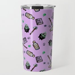 Purple Witches Brew & Fairy Dust Pattern Travel Mug