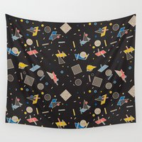 eames Wall Tapestries featuring Memphis Inspired Pattern 10 by Season of Victory