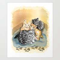 kittens Art Prints featuring Kittens by Michelle Behar