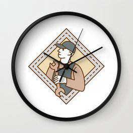 Mechanic Holding Wrench Crest Mono Line Wall Clock