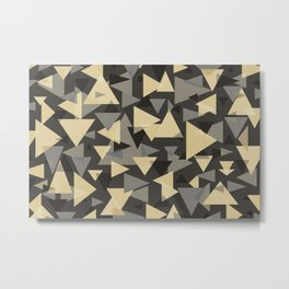 The dark side, mix of elegant abstract chaotic triangles scattered in all directions pattern  Metal Print