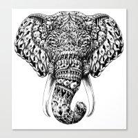 ornate elephant Canvas Prints featuring Ornate Elephant Head by BIOWORKZ