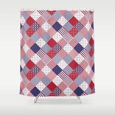 Red White   Blue Patchwork Quilt Shower CurtainChevron Shower Curtains   Society6. Red And Blue Shower Curtain. Home Design Ideas