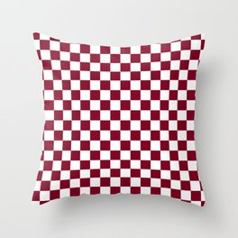 White and Burgundy Red Checkerboard Throw Pillow