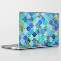 metal Laptop & iPad Skins featuring Cobalt Blue, Aqua & Gold Decorative Moroccan Tile Pattern by micklyn