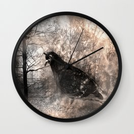 Black bird and the foggy path Wall Clock