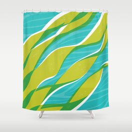 Ocean kelp in turquoise and green Shower Curtain