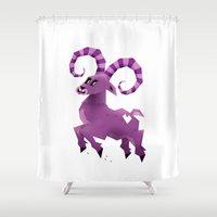 yetiland Shower Curtains featuring Aries! by Yetiland