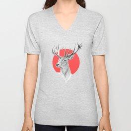 Deer | red Unisex V-Neck