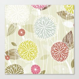 Abstract Floral Beige by Friztin Canvas Print