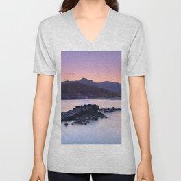 Half Moon Beach. Purple Sunset At The Mountains Unisex V-Neck