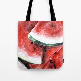 Juicy Watermelon in Watercolor- Food Art Tote Bag