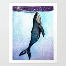 Whale at Night Art Print