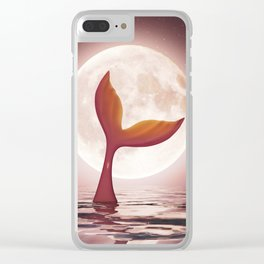 Mermaid enjoy the moonlight,3d rendering Clear iPhone Case