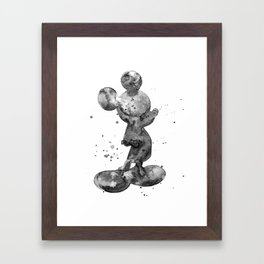 Mickey Mouse, black & white Framed Art Print