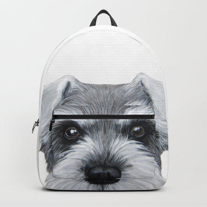 Schnauzer Grey&white, Dog illustration original painting print Backpack