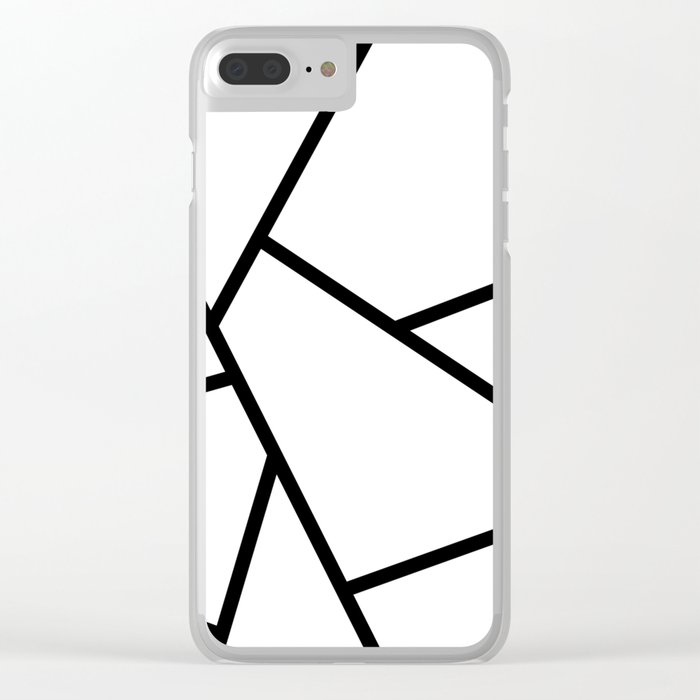 Black and White Fragments - Geometric Design I Clear iPhone Case
