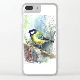 Watercolor aquarelle titmouse bird Clear iPhone Case