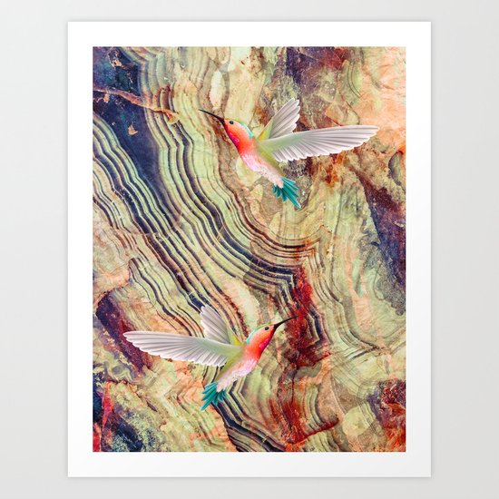 hummingbirds marble Art Print
