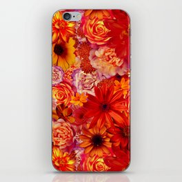 Rojo Bouquet Rich Red Hot Mixed Flowers Bright Floral Autumn iPhone Skin