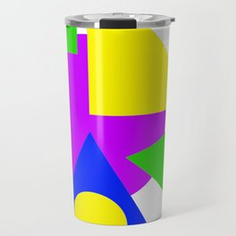 Colourful Simple Shapes Art Green Purple Blue And Yellow Bright Decor Artwork Gift Travel Mug