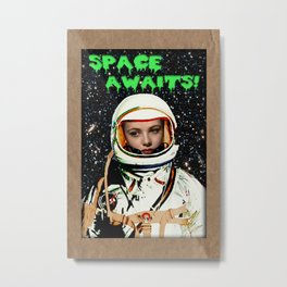 SPACE AWAITS GENE TIERNEY Metal Print