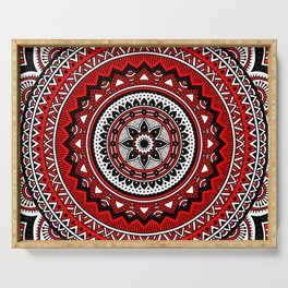 Red and Black Mandala Serving Tray