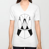 puffin V-neck T-shirts featuring Polygon Puffin by Beard and Bones