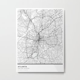 Atlanta Simple Map Metal Print
