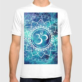 Galaxy Om Mandala Aqua Midnight Blue T-shirt