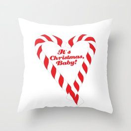 Candy Cane - It's Christmas, Baby! #xmas #christmas #minimal #love #design Throw Pillow