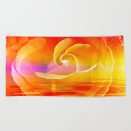 Sunset Rose Abstract Beach Towel