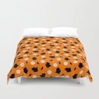 volleyball Duvet Covers featuring Volley Crows! by paraply
