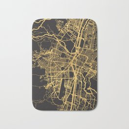 MEDELLIN COLOMBIA GOLD ON BLACK CITY MAP Bath Mat