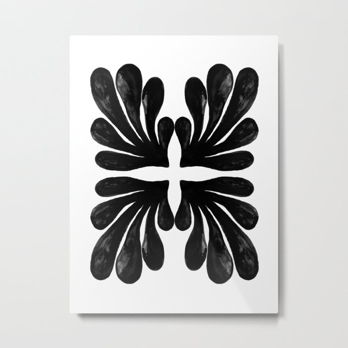 Grace - black and white abstract painting india ink brushstroke watercolor minimal modern urban  Metal Print