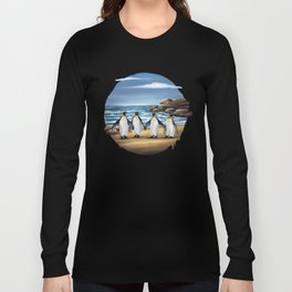 King Penguins walking on the Beach Long Sleeve T-shirt