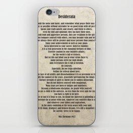 Desiderata Poem By Max Ehrmann Nr. 1001-2 iPhone Skin