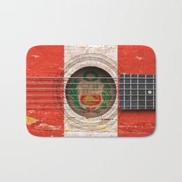 Old Vintage Acoustic Guitar with Peruvian Flag Bath Mat