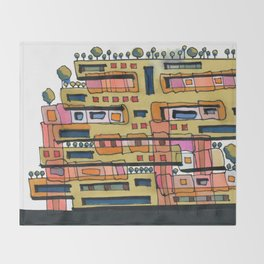 Urban Nature Building Architectural Illustration 62 Throw Blanket