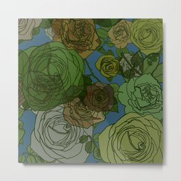 Roses Illustration in Green and Blue Metal Print