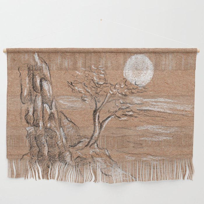 Mountain lonely tree Wall Hanging